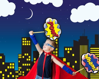 Superhero party printables, photo props, party decorations (instant download)