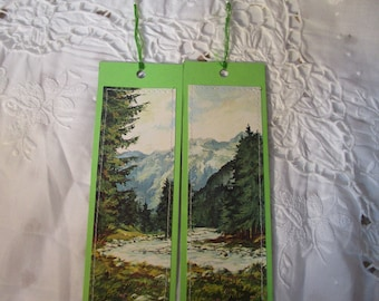 Set of two card bookmarks-postcards-landscape-recycled-handcrafted recycle-hand-made bookmarks-recycled paper