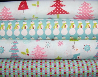 CHRISTMAS BASICS Riley Blake Designs Christmas Fabrics in blue ~ 4 fat quarters bundle ~ 1 yard total