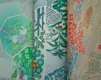 Silk Kimono Fabric Set, 3 Pieces of Vintage Japanese Textile, Craft Supply, Green Light Blue and Brown