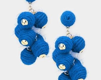 Thread Ball Cluster Vine Dangle Earrings - Royal Blue