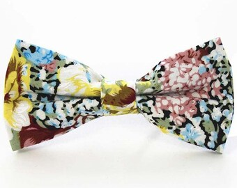 Multicolored Floral Bow Tie | cotton bowtie | flower bowtie | best man bow tie | pink bow tie | green bow tie | floral bowties | gifts