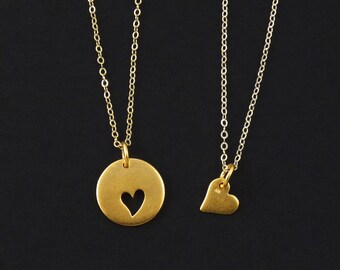 Gold Mother & Daughter Heart Necklaces
