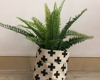 Beige linen and black cross planter