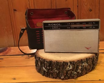 Vintage radio,  Radio SOKOL, Portable radio transistor, Transistor radio, Old radio, Collectibles, leather case
