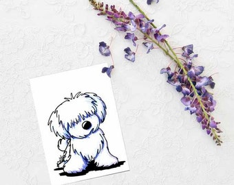 ORIGINAL Little White Puppy Dog Art Drawing ACEO