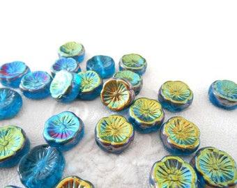 2 x beads Hawaii blue Bohemian Czech turquoise glass iridescent bronze Gold Flower.