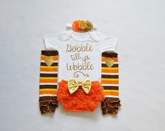 gobble till ya wobble baby girl outfit - my first thanksgiving baby girl outfit -  girl my 1st thanksgiving - baby girl thanksgiving outfit