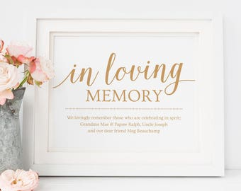 Loving Memory Wedding Sign Printable Heaven Wedding Sign