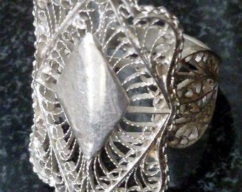 Vintage Silver Filigree Ring