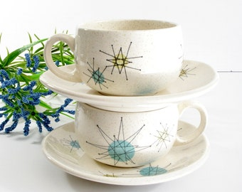 Two Vintage Franciscan Starburst Earthenware Cup and Saucer, Mid Century Modern Design, 1950's Atomic Design, Made in the USA