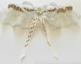 Marauders/Magic/Wizard Inspired Themed Wedding Satin/Satin and Lace/Garter Set
