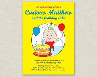 Printable / Curious George Inspired First Birthday Party Invitation