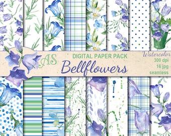Digital Watercolor Bellflowers Seamless Paper Pack, 16 printable Digital Scrapbooking papers, floral Collage, Instant Download, set 369