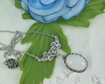 Opal Necklace, Czech Glass Opal Necklace, Opalite Necklace, October Birthstone Necklace, Floral Opal Necklace, Peace Necklace, Love Necklace