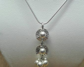 """Pendant, handmade creation of the Studio of Andrea """"geometric"""" / Silver brass/silver / 45 mm / jewelry making / creation set"""