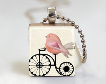 Vintage Bicycles - Scrabble Pendant Necklace with Ball Chain Necklace or Key Ring