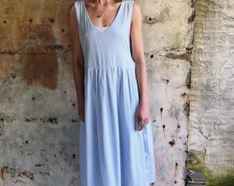 1980s Light Blue Striped Apron Midi Dress M L