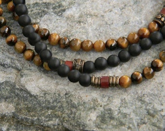 Tiger Eye, Black Onyx, Necklace for Men, Tribal, Minimalist Necklace, Mens Beaded Necklace, Guys Jewelry, Gift for him, Casual Mens Necklace