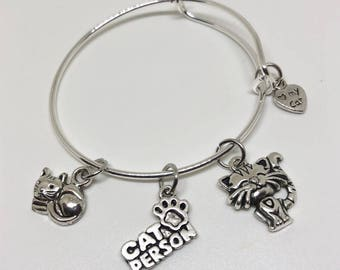 Kitten Bracelet, Cat Charm Bracelet, Cat Jewelry, Pet Jewelry, Pet Charm, Cat Charm, Pet Gift, Cat Gift, Pet Bag, Kitten Charm, Cat Toy