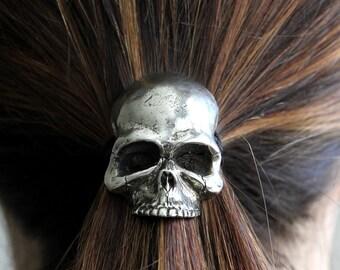Skull Pony Tail Holder / Necklace Silver Human Skull Hair Tie 052