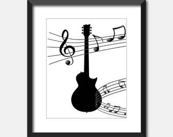 Guitar with Music Notes Printable Art, Instant Download, Digital Art Print, Wall Art