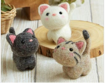 NEW 2017 Needle Felting Kit Three Little Cats By Hamanaka H441-483