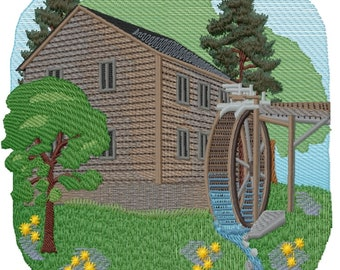 Mill in Summer Embroidered on Hand Towel or Tea Towel