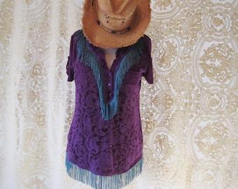 Purple lace fringed tunic, bohemian top, refashioned clothing, upcycled tops, boho cowgirl gypsy, size large