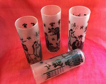 Set of 4 vintage highball glasses