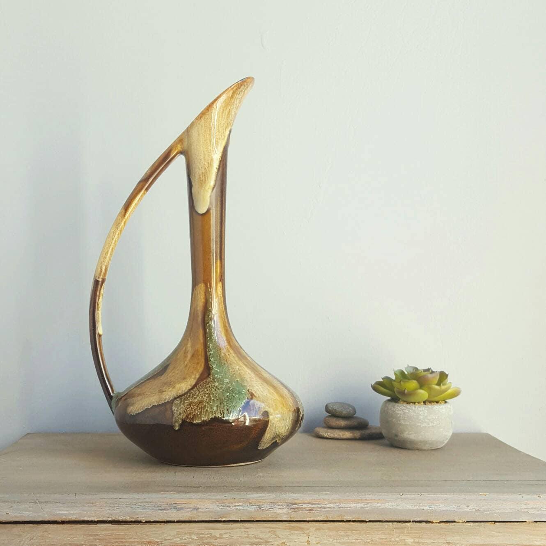 Vintage ewer vase mid century modern 1960s ceramic lava like zoom reviewsmspy
