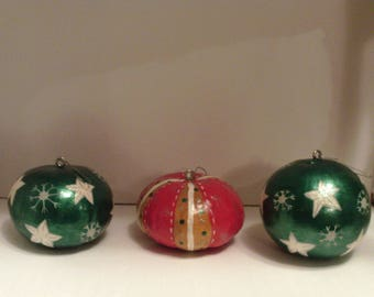 Painted gourd ornaments, Christmas ornaments, Set of three ornaments