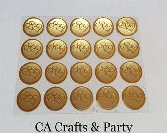 Wedding Stickers Gold, Double Hearts Foil Seal 1 Inch, 100 PCS. Wedding, Anniversary, Valentines labels.