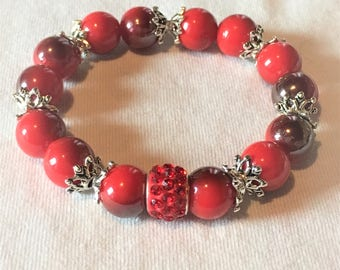 """Bracelet """"Red and silver beads"""""""