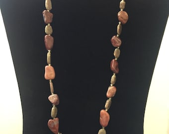 """Jasper and Quartz Necklace or Bracelet 22"""", beaded necklace, gift for mom sister best friend wife girlfriend bridesmaid"""