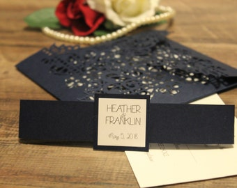 Royal Blue Lace Quad Fold Wedding Invitation - Many Colors to Choose From - Customize Your Own