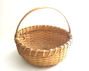Vintage Round Gathering Basket with Handle Dated and Signed