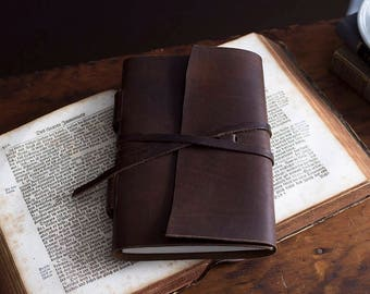Leather Journal Wrap w/ Hemp Paper - Refillable