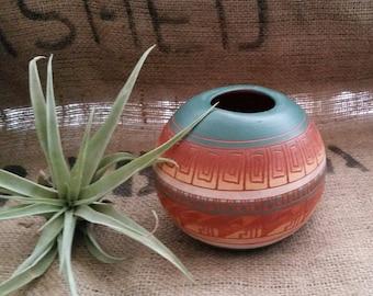 Vintage small Navajo pottery vase artist signed
