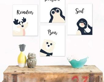 Winter animals, Peeking Animals, Polar Bear, Penguin, Reindeer, Seal, Animals Collection, Set of 4, Animal Nursery, Holiday Gift, Christmas