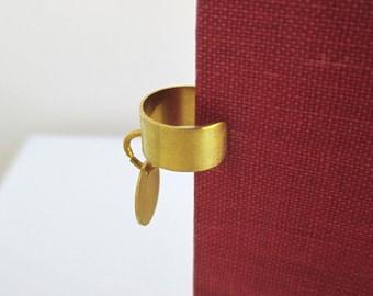 2 Solid Brass Ear Cuffs - Gold Tone Dangle Cuff Earrings