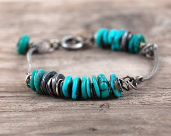 turquoise silver bracelet, oxidized silver bracelet