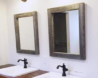 2 Reclaimed Wood Mirrors Size 28 x 34 - Rustic bathroom Mirror Set