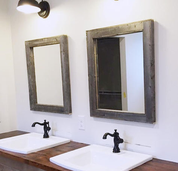 2 reclaimed wood mirrors size 28 x 34 rustic bathroom mirror 20112