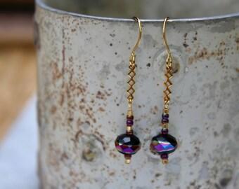 Amethyst Earrings, Rainbow Earrings, Colorful Earrings, Drop Earrings, Dangle Earrings, Gold Jewelry, Opalescent Earrings, Purple Earrings