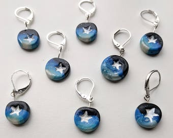 Starry Night Stitch Markers. Universal for knitting and crochet. Ready to ship