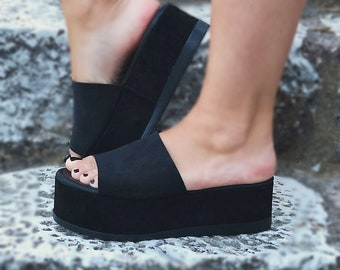 """Black Suede Leather Flatforms """"Hera"""" / Leather Platforms Sandals / Genuine Greek Suede Leather / Rubber Sole / Summer Slippers"""