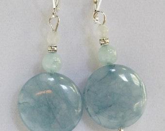 Earrings, Aquamarine and Jade