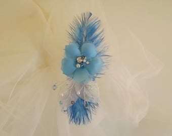 Tie behind beaded flower and blue feathers