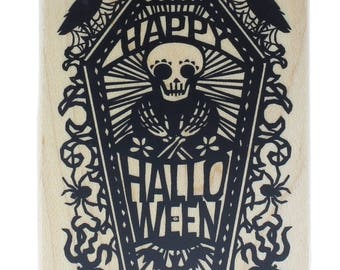Inkadinkado Happy Halloween Skull in a Coffin with Ravens Wooden Rubber Stamp